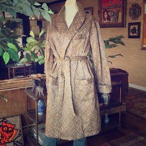 Vintage french satin smoking jacket robe kimono